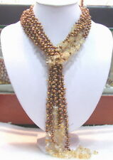 "58"" 3 Strands Brown Pearl&Natural Citrine long Necklace"