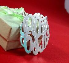 """MONOGRAM INITIAL NECKLACE SOLID STYLE  STERLING SILVER 1.25""""(Made in USA)NY"""