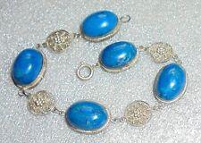 fine old blue lapis stone silver bracelet