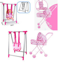 Baby Doll Swing Pushchair Set Simulation ABS Furniture Playset Rooms Decor
