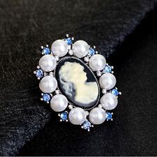Vintage Crystal Rhinestone Lady Cameo Brooch Pin Pendant Women Fashion Jewelry