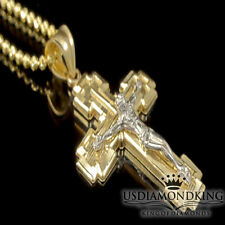 "10k 100% REAL TWO TONE GOLD CROSS + FREE 24"" STERLING SILVER CHAIN NECKLACE SET"