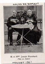 1937  --  NOCES DE DIAMANT COUPLE BLANCHARD  A MOUHET 36    3K518