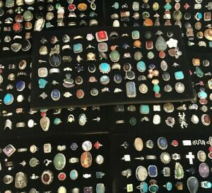 Wholesale Lot Turquoise & Mix Gemstone Rings 925 Silver Plated 50Gm Ring Lots