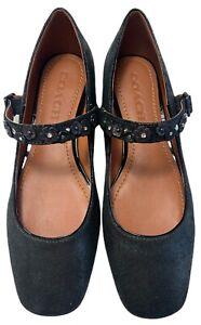 NWOB COACH G1841 Black Metallic Leather Embellished Mary Jane Shoes Women's Sz 7