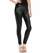 WOMEN SKINNY BLACK COW LEATHER PANT WITH ZIP DETAILING NEW STYLE TROUSERS
