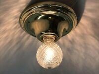 Antique Vtg Art Deco Flush Mount Ceiling Wall Light Fixture Brass w/ Glass Globe