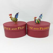 Set of 2 Fitz and Floyd Glass Menagerie Rooster Figurines Limited Edition