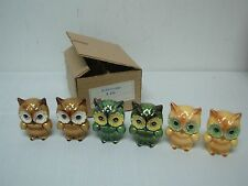3 SETS VINTAGE LEFTON OWL SALT & PEPPER SHAKERS ~ NEW MINT IN BOX! 3""