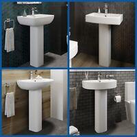 Modern Bathroom Basin Sink Full Floor Standing Pedestal Various Options White