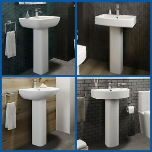 Modern Bathroom Basin Sink Full Floor Standing Pedestal Various Options White