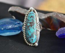 Unique Navajo Sterling Silver Ring Sky Blue Kingman Turquoise Dark Matrix Sz 9.5