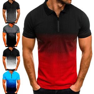 Mens Gradient Short Sleeve Polo Shirts Casual Slim Fit Golf Tops T-Shirt S-5XL