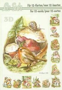 Le Suh 3D Decoupage Book A5 Wildlife & Mushroom Theme Designs  - 345638