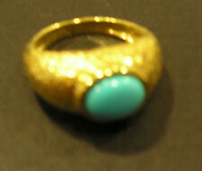 Veronese sterling silver bonded 18ct gold turquoise ring
