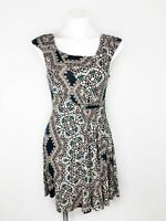 Anthropologie HD In Paris Eidola Fit & Flare Green Brown Teal Pattern Dress Sz S