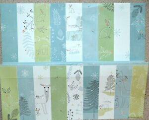 "18 x 6"" (150 x 150mm) Pretty Winter Woodland Patterned Backing Papers NEW"