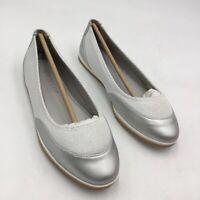 Aerosoles Womens Get Smart Ballet Flat Shoes Silver White Slip Ons 7 M New