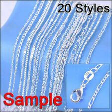 Sterling Silver Plate Necklace Chains+Lobster Clasps 20Pcs Mix Styles Samples