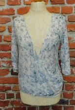 Nicole Farhi toile de jouy style cotton wrap top size M Summer events formal