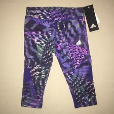 Girls Size 5 5t Adidas Print Crop Leggings Athletic Running Pants Purple Nwt