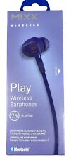 MIXX PLAY Bluetooth Wireless Stereo Earphones 7 Hour Play Time - Blue | New