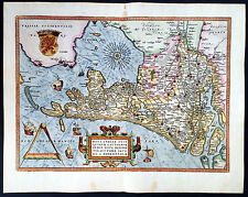 1579 Abraham Ortelius Large Original Antique Map of Holland, The Netherlands