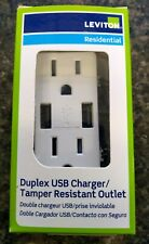 Leviton Decora T5632W DUPLEX USB Charger Tamper Resistant Outlet FREE SHIPPING