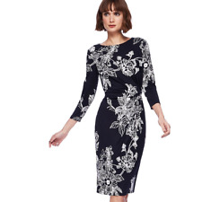 New Ex. Debenhams The Collection Black Beige Floral Print Jersey Dress 8-18