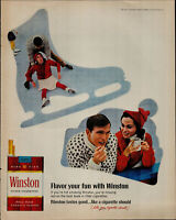 1967 Winston Filter Cigarettes Couple Ice Skating Vintage Print Ad 1679