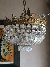 Vintage Crystal Basket Chandelier Semi Flush Beautiful Crystals