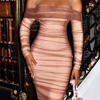 Women Off Shoulder Mesh Dress Draped Solid Strapless Club Sheath Party Dresses