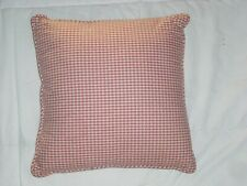 "Country Curtains Salmon Mauve Ivory Checkered 15"" Square Bed Accent Pillow  EUC"