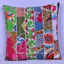"""16"""" INDIAN CUSHION MULTI PATCHWORK PILLOW COVER KANTHA THROW Ethnic Handmade"""