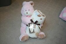 Blankets & Beyond Plush Pink Bunny Stuffed Rabbit &Blanket Set Security Love