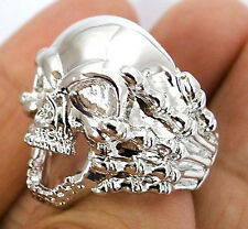 SKULL HAND BONE CLAW SILVER PLATED BRASS BIKER RING 14