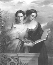 PRETTY BEAUTIFUL YOUNG GIRLS TWIN SISTERS READ BOOK ~ 1859 Art Print Engraving