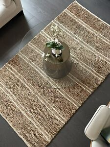 NEW Handloomed Jute & Wool Knotted Rug 4 x 7ft (Natural & White)