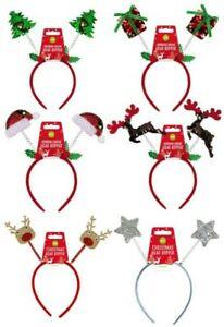 Christmas glitter headband boppers xmas adult party fun star reindeer