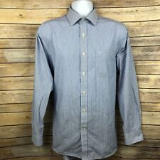 3ee90c3dbbc Daniel Hechter Mens Dress Shirt 16H 16.5 Large Regular Blue Vertical Stripe