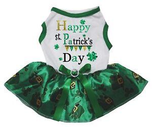 Happy St.Patrick's Day White Cotton Top Green Clover Tutu Pet Dog Puppy Dress