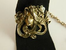 Head Art Nouveau Ornate Pearl Ribbon Antique Gold Filled Watch Fob Chain Womans