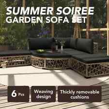 vidaXL 6 Piece Garden Lounge Set With Cushions Poly Rattan Grey 46807