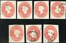 CANADA QV POSTMARKS CIRCULAR DATESTAMPS SELECTED on POSTAL STATIONERY...7 ITEMS