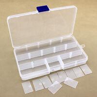 Plastic 15 Slots Jewelry Adjustable Tool Box Case Crafts Organizer Storage Beads