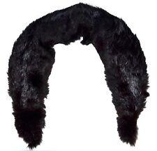 Vintage Black Genuine Rabbit Fur Soft Tapered Collar Scarf