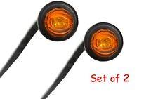 "Pair of 3/4"" Bullet Amber Mini LED Lights Clearance Side Marker Truck Trailer"