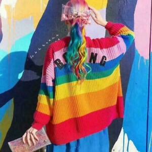 """Women's Lazy Oaf Inspired Rainbow color Sweater """"BORING"""" Cardigan Softs Jumper"""