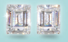 4 ct tw Top Russian CZ Emerald Cut Moissanite Simulant Solid 14 kt White Gold