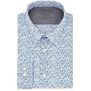 Calvin Klein Mens Printed Dress Shirt Xtreme Slim Fit Stretch, Size S 14.5 32/33